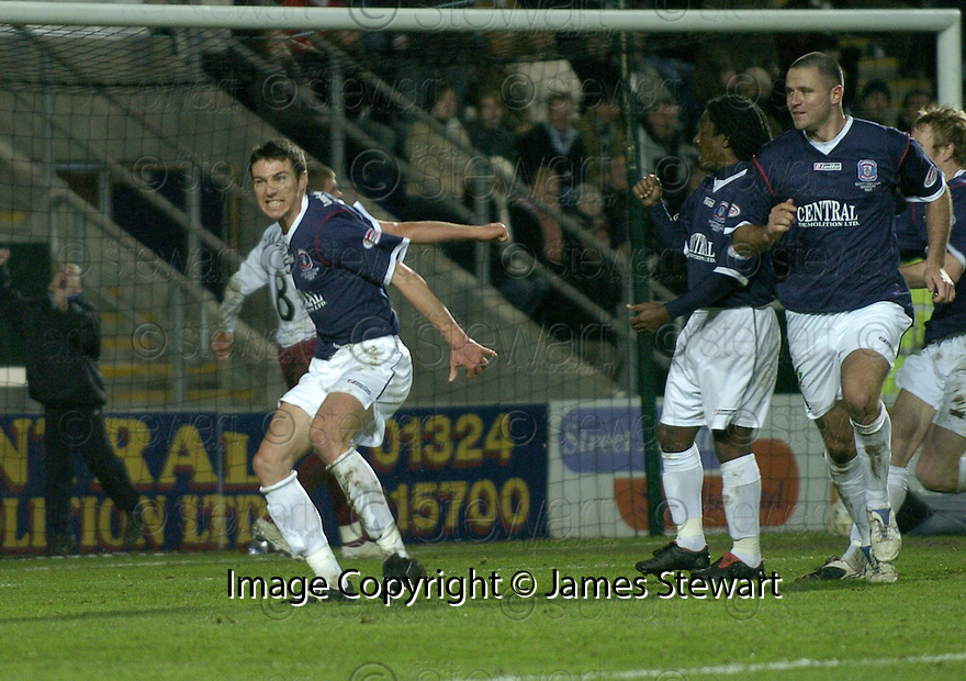 29/12/2007    Copyright Pic: James Stewart.File Name : sct_jspa07_falkirk_v_hearts.CARL FINNIGAN CELEBRATES AFTER HE SCORES FALKIRK'S FIRST GOAL....James Stewart Photo Agency 19 Carronlea Drive, Falkirk. FK2 8DN      Vat Reg No. 607 6932 25.Office     : +44 (0)1324 570906     .Mobile   : +44 (0)7721 416997.Fax         : +44 (0)1324 570906.E-mail  :  jim@jspa.co.uk.If you require further information then contact Jim Stewart on any of the numbers above.........