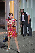 "Dinslaken, Germany. 12 August 2015. Elsie de Brauw as Amore/Nannina and Benny Claessens as The Law/Das Gesetz. Performance of the Pier Paolo Pasolini play ""Accattone"" at Ruhrtriennale festival of the arts at Kohlenmischhalle of Schacht Lohberg in Dinslaken, North Rhine-Westphalia, Germany. Accattone is directed by festival director Johan Simons with music by Johann Sebastian Bach conducted by Philippe Herreweghe. With Steven Scharf as Accattone."