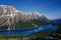 Peyto Lake and Mistaya Mountain from near Bow Summit, Banff National Park, Alberta, Canada.  Summer.  This is one of the main tourist overlooks along Icefields Parkway.