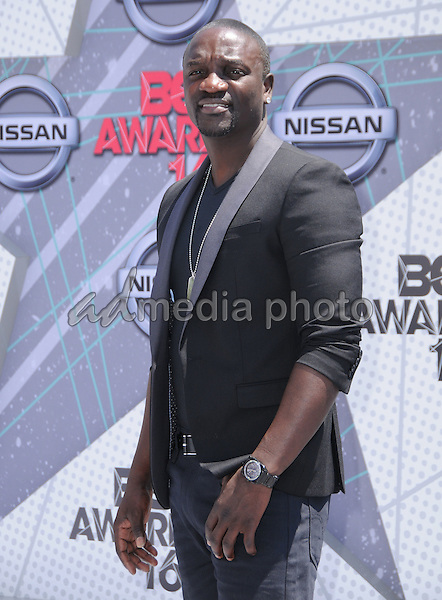 26 June 2016 - Los Angeles. Akon. Arrivals for the 2016 BET Awards held at the Microsoft Theater. Photo Credit: Birdie Thompson/AdMedia