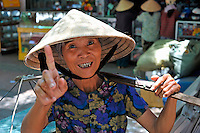 Woman portrait at market, Hue, Vietnam