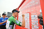 Green Jersey Stepan Kuriyanov (RUS) Gazprom–Rusvelo signs on before the start of Stage 6 of the 2019 UAE Tour, running 175km form Ajman to Jebel Jais, Dubai, United Arab Emirates. 1st March 2019.<br /> Picture: LaPresse/Massimo Paolone | Cyclefile<br /> <br /> <br /> All photos usage must carry mandatory copyright credit (© Cyclefile | LaPresse/Massimo Paolone)
