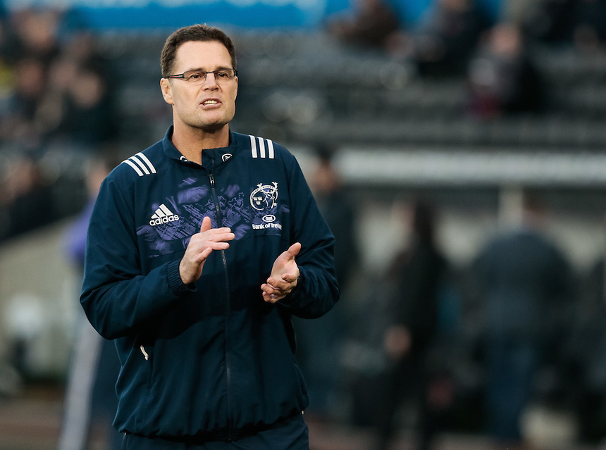 Munster's Director of Rugby Rassie Erasmus during the pre match warm up<br /> <br /> Photographer Simon King/CameraSport<br /> <br /> Guinness PRO12 Round 15 - Ospreys v Munster - Saturday 18th February 2017 - Liberty Stadium - Swansea<br /> <br /> World Copyright &copy; 2017 CameraSport. All rights reserved. 43 Linden Ave. Countesthorpe. Leicester. England. LE8 5PG - Tel: +44 (0) 116 277 4147 - admin@camerasport.com - www.camerasport.com