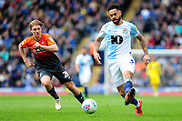 George Byers of Swansea City vies for possession with Derrick Williams of Blackburn Rovers during the Sky Bet Championship match between Blackburn Rovers and Swansea City at Ewood Park in Blackburn, England, UK. Sunday 5th May 2019
