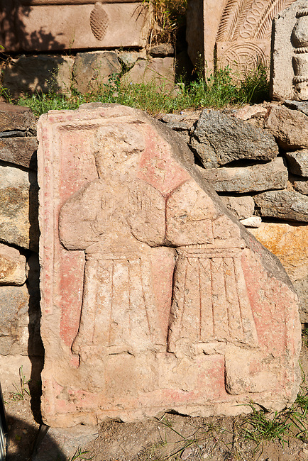 Picture & image of Vardzia medieval relief carved architectural panels from the cave city and monastery of Vardzia, Erusheti Mountain, southern Georgia (country)<br /> <br /> Inhabited from the 5th century BC, the first identifiable phase of building took place at  Vardzia in the reign of Giorgi III (1156-1184) to be continued by his successor, Queen Tamar 1186, when the Church of the Dormition was carved out of the rock and decorated with frescoes
