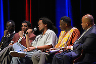 September 8, 2011 (Washington, DC) Panelists take part in breakout session of The Presidential Symposium: Beyond the Stereotypes-Academics, Athletics, Character and Black Male Achievement held at Howard University's Crampton Auditorium.   The symposium, presented by Howard University and Morehouse College, was a day-long discussion that included scholars, students, actors and sports columnists, and preluded the AT&T Nations Football Classic between Howard and Morehouse.  (L-R) Isaiah Washington, Actor; Dr. David Wall Rice, Director, Department of Psychology, Morehouse College; Seith Mann, TV and Film Director; Dr. Greg Carr, Associate Professor and Chair, Dept. of African American Studies, Howard University; Jason Reid, Columnist, The Washington Post.   (Photo by Don Baxter/Media Images International)