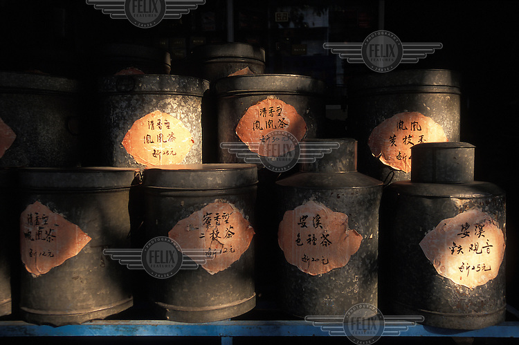 Pots of different teas for sale in Anxi, one of the leading tea-producing regions in China.