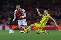 Jack Wilshere of Arsenal is fouled by Aleksei RIOD of FC BATE Borisov during the UEFA Europa League match between Arsenal and FC BATE Borisov  at the Emirates Stadium, London, England on 7 December 2017. Photo by David Horn.