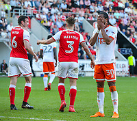 Blackpool's Nathan Delfouneso reacts after missing a chance<br /> <br /> Photographer Alex Dodd/CameraSport<br /> <br /> The EFL Sky Bet League One - Rotherham United v Blackpool - Saturday 5th May 2018 - New York Stadium - Rotherham<br /> <br /> World Copyright &copy; 2018 CameraSport. All rights reserved. 43 Linden Ave. Countesthorpe. Leicester. England. LE8 5PG - Tel: +44 (0) 116 277 4147 - admin@camerasport.com - www.camerasport.com