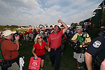 Phil Mickelson and wife Amy leaving the 17 th green after USA winning the final round of Single Matches at The 37th Ryder cup from Valhalla Golf Club in Louisville, Kentucky....Photo: Fran Caffrey/www.golffile.ie.
