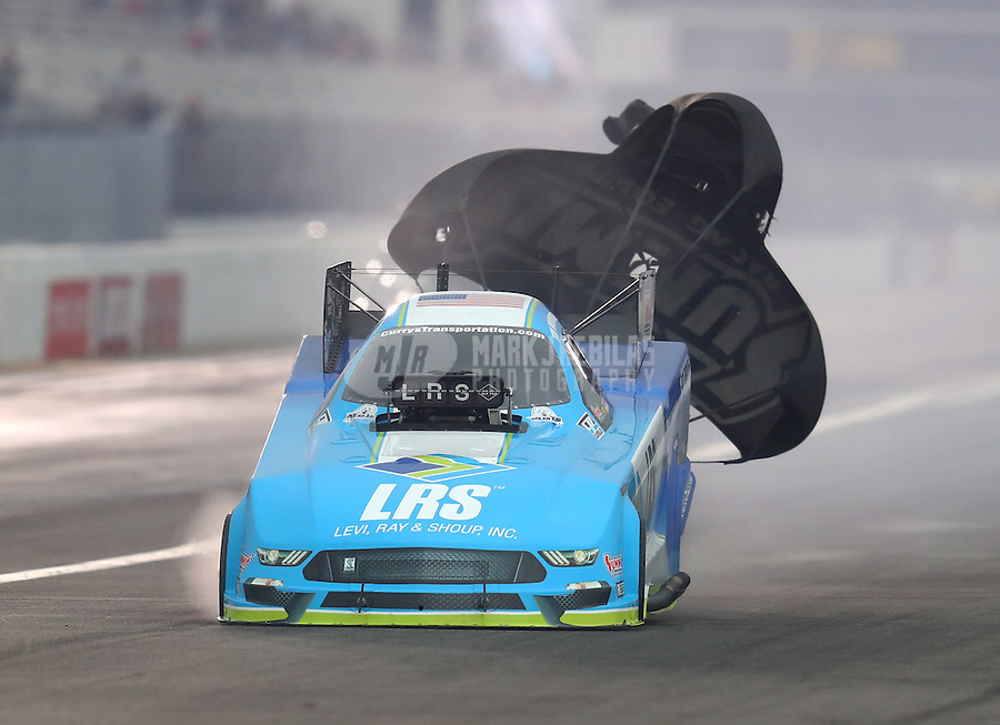 Feb 10, 2017; Pomona, CA, USA; NHRA funny car driver Tim Wilkerson during qualifying for the Winternationals at Auto Club Raceway at Pomona. Mandatory Credit: Mark J. Rebilas-USA TODAY Sports
