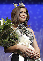 12 July, 2008:    Miss Tahoma Janet Harding (right) walks to the front of the stage after being awarded the title of 2008 Miss Washington at the Pantages Theater in Tacoma , Washington.