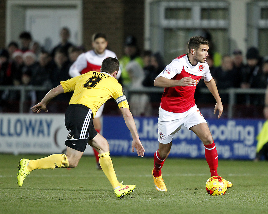 Fleetwood Town's Gareth Evans in actio with Sheffield United's Michael Doyle<br /> <br /> Photographer Mick Walker/CameraSport<br /> <br /> Football - The Football League Sky Bet League One - Fleetwood Town v Sheffield United - Saturday 13th December 2014 - Highbury Stadium - Fleetwood<br /> <br /> &copy; CameraSport - 43 Linden Ave. Countesthorpe. Leicester. England. LE8 5PG - Tel: +44 (0) 116 277 4147 - admin@camerasport.com - www.camerasport.com