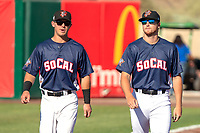 Jack Kruger (14) of the Inland Empire 66ers and Zac Ryan (18) of the Inland Empire 66ers prior to the 2018 California League All-Star Game at The Hangar on June 19, 2018 in Lancaster, California. The North All-Stars defeated the South All-Stars 8-1.  (Donn Parris/Four Seam Images)