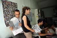 Roma, 24 Giugno 2011.Garbatella.centro sociale la strada.Manifestazione contro gli sfratti dopo lo sgombero e gli arresti avvenuti nel quartiere il 21 giugno..La manifestazione denuncia anche la violenza della polizia