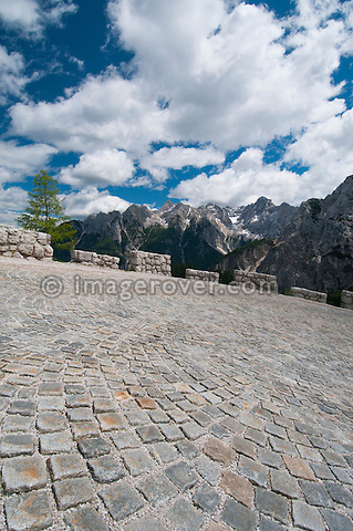 Cobblestoned hairpin bend 24 of the Vrsic mountain pass from Kranjska Gora to Bovec in the Julian Alps, Slovenia.