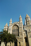 Rochester Cathedral Norman West face and blue sky