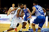 GRONINGEN - Basketbal, Donar - Landstede Martiniplaza, Dutch Basketbal League, seizoen 2018-2019, 06-12-2018, Donar speler Jason Dourisseau met Landstede speler Franko House