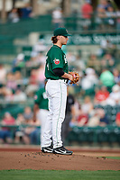 Fort Wayne TinCaps starting pitcher Aaron Leasher (24) looks in for the sign during a game against the West Michigan Whitecaps on May 17, 2018 at Parkview Field in Fort Wayne, Indiana.  Fort Wayne defeated West Michigan 7-3.  (Mike Janes/Four Seam Images)