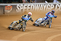Danny King (England) leads BARTOSZ ZMARZLIK (Poland) during the 2016 Adrian Flux British FIM Speedway Grand Prix at Principality Stadium, Cardiff, Wales  on 9 July 2016. Photo by David Horn.