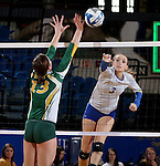 BROOKING, SD - NOVEMBER 13:  Kacey Hermann #3 from SDSU tips the ball past Jenni Fassbender #13 from NDSU during their game Friday afternoon at Frost Arena in Brookings. (Photo by Dave Eggen/Inertia)