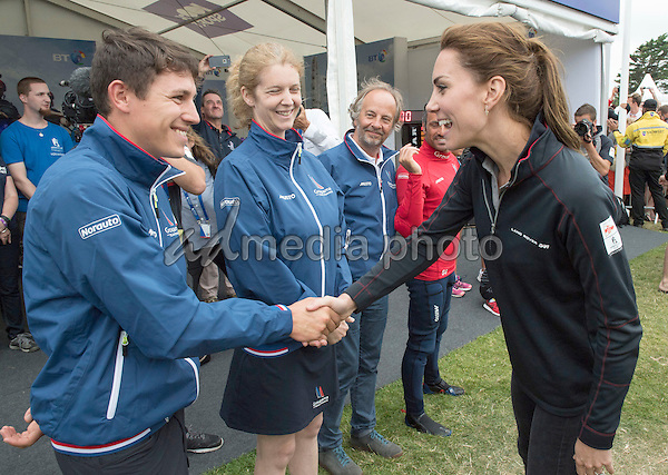 24 July 2016 - Princess Kate Duchess of Cambridge meets members of the France team at the America's Cup World Series Race in Portsmouth. The royal couple visited the home of the British competitors for the America's Cup before observing the ongoing competition. Photo Credit: ALPR/AdMedia