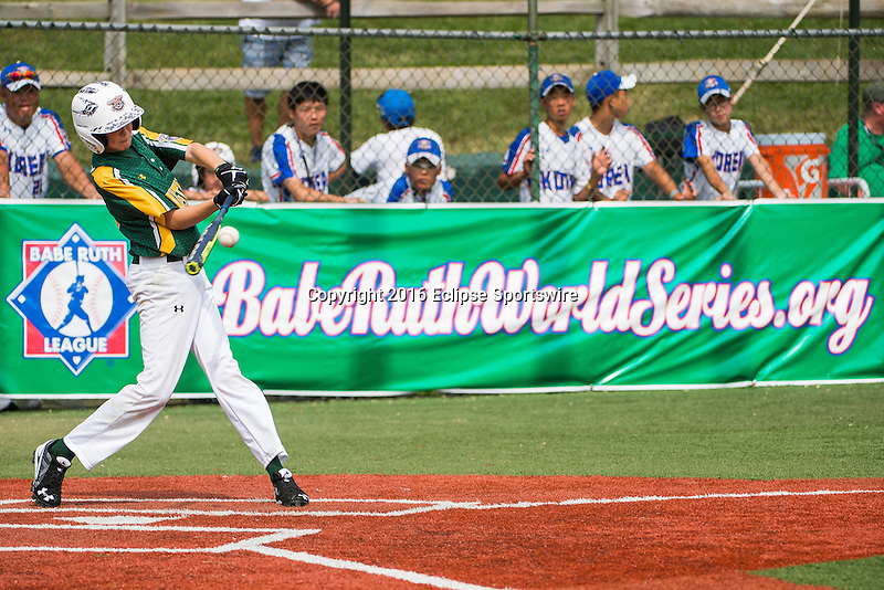 ABERDEEN, MD - AUGUST 01: Riley Yeatman #13 of Australia at bat against the Republic of Korea in a game between the Republic of Korea and Australia during the Cal Ripken World Series at The Ripken Experience Powered by Under Armour on August 1, 2016 in Aberdeen, Maryland. (Photo by Ripken Baseball/Eclipse Sportswire/Getty Images)