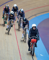 25th January 2020; National Cycling Centre, Manchester, Lancashire, England; HSBC British Cycling Track Championships; A derny bike and rider leads out the riders during the Female keirin round 1 heat 2