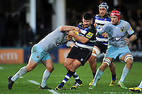 Rob Webber of Bath Rugby takes on the Northampton Saints defence. Aviva Premiership match, between Bath Rugby and Northampton Saints on December 5, 2015 at the Recreation Ground in Bath, England. Photo by: Patrick Khachfe / Onside Images