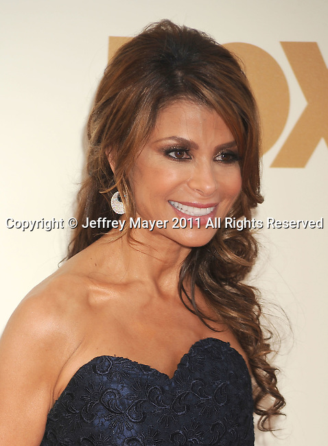 LOS ANGELES, CA - SEPTEMBER 18: Paula Abdul arrives at the 63rd Primetime Emmy Awards at the Nokia Theatre L.A. Live on September 18, 2011 in Los Angeles, California.