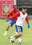 Spain's Hector Bellerin (r) and Pedro Rodriguez during preparing training stage to Euro 2016. May 30,2016.(ALTERPHOTOS/Acero)