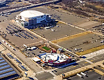 Aerial view of the Philadelphia Sports Complex skyline.