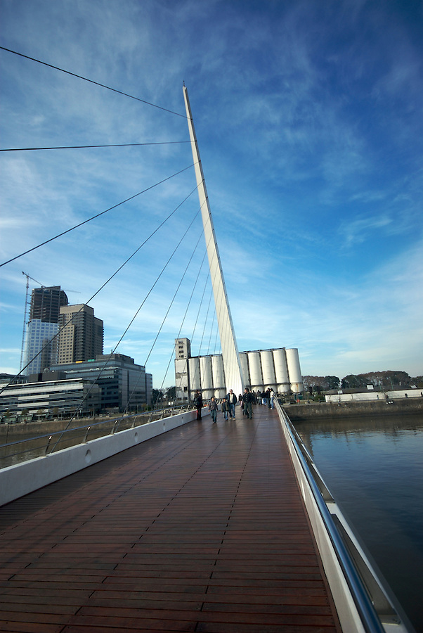 "View of tensors and  Bridge ""La Mujer"" in Puerto Madero, Buenos Aires. The Bridge was designed by Santiago Calatrava and its a Landmark on this tourist destination in Buenos Aires."