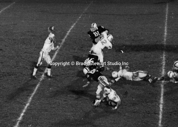 Bethel Park PA:  Offensive play with the Bethel Park offense setting up a pass to tight end Gary Biro, others in the  photo; Chip Huggins 32, Clark Miller 30, Dennis Franks 66, Mike Stewart 11.  The Bethel Park offense and defense played very well in the 16-0 shut out of the Upper St Clair Panters.  Mike Stewart suffered a serious knee injury right before halftime when an idiot on Upper St Clair, Lynn Carson, purposely jumped on his leg when he was holding for a field goal.  The good news, the 38 yard field goal by Tom Skladany was successful and it was the beginning of Tom's very successful high school, college and pro career.  The defensive unit was one of the best in Bethel Park history only allowing a little over 7 points a game.