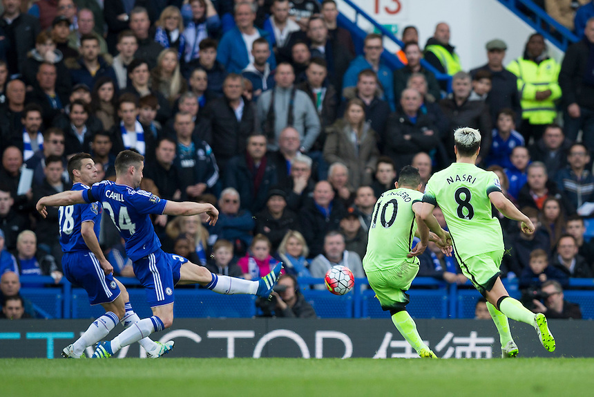 Manchester City's Sergio Aguero scores the opening goal <br /> <br /> Photographer Craig Mercer/CameraSport<br /> <br /> Football - Barclays Premiership - Chelsea v Manchester City - Saturday 16th April 2016 - Stamford Bridge - London<br /> <br /> &copy; CameraSport - 43 Linden Ave. Countesthorpe. Leicester. England. LE8 5PG - Tel: +44 (0) 116 277 4147 - admin@camerasport.com - www.camerasport.com