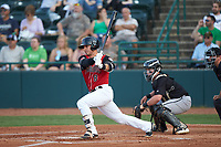 Preston Scott (8) of the Hickory Crawdads follows through on his swing against the Kannapolis Intimidators at L.P. Frans Stadium on July 20, 2018 in Hickory, North Carolina. The Crawdads defeated the Intimidators 4-1. (Brian Westerholt/Four Seam Images)