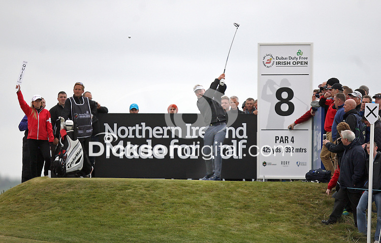 27 May 2015; Darren Clarke tees off at the 8th<br /> <br /> Dubai Duty Free Irish Open Golf Championship 2015, Pro-Am. Royal County Down Golf Club, Co. Down. Picture credit: John Dickson / DICKSONDIGITAL