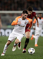 Football Soccer: UEFA Champions League  Round of 16 Second Leg, AS Roma vs FC Shakhtar Donetsk, Stadio Olimpico Rome, Italy, March 13, 2018. <br /> Shakhtar Donetsk's Facundo Ferreyra (l) in action with Roma's Federico Fazio (r) during the Uefa Champions League football soccer match between AS Roma and FC Shakhtar Donetsk at Rome's Olympic stadium, March 13, 2018.<br /> UPDATE IMAGES PRESS/Isabella Bonotto