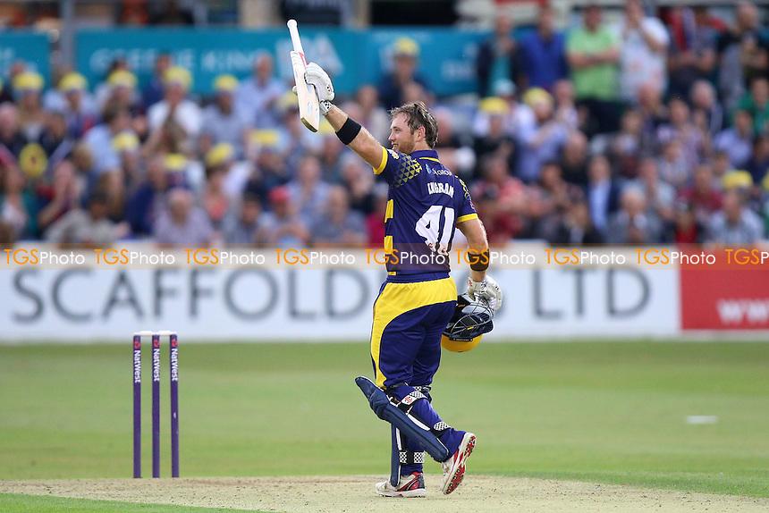 Colin Ingram of Glamorgan celebrates scoring a century, 100 runs during Essex Eagles vs Glamorgan, NatWest T20 Blast Cricket at the Essex County Ground on 29th July 2016