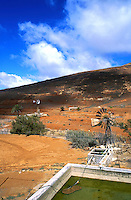 Windmills pumping water for agriculture,, Fuerteventura, Canary Islands, Spain