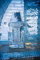 Amérique/Amérique du Nord/Canada/Québec/   Sainte-Catherine -de-la -Jacques-Cartier:  Détail lampe à l'Ice Hôtel, Hôtel de Glace à la station touristique de Duschesnay prés du lac Saint-Joseph