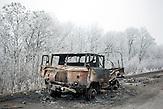 Ausgebrannter LKW, nahe Debaltsewo nach dem Abkommen von Minsk zu Beginn des Waffenstillstandes, 15.02.2015/  near Debaltseve after the  Minsk deal at the Begining of ceasefire_15.02.2014
