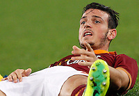 Calcio, Serie A: Roma vs ChievoVerona. Roma, stadio Olimpico, 31 ottobre 2013.<br /> AS Roma midfielder Alessandro Florenzi reacts during the Italian Serie A football match between AS Roma and ChievoVerona at Rome's Olympic stadium, 31 October 2013.<br /> UPDATE IMAGES PRESS/Riccardo De Luca