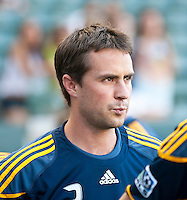 CARSON, CA – July 9, 2011: LA Galaxy defender Todd Dunivant (2) before the match between LA Galaxy and Chicago Fire at the Home Depot Center in Carson, California. Final score LA Galaxy 2, Chicago Fire FC 1.
