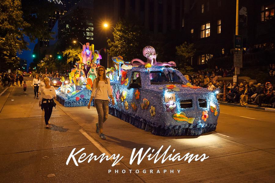 Beautiful Sea Theme Float at Night, Seafair Torchlight Parade 2015, Seattle, Washington State, WA, America, USA.