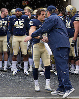 Pitt head coach Paul Chryst and senior defensive back Andrew Taglianetti. The Pitt Panthers defeat the Rutgers Scarlet Knights 27-6 on Saturday, November 24, 2012 at Heinz Field , Pittsburgh, PA.