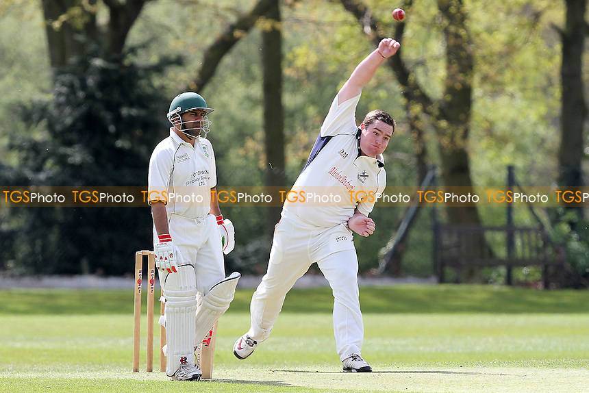 Alan Ison in bowling action for Upminster - Wanstead CC (batting) vs Upminster CC - Club Cricket Friendly Match at Overton Drive - 22/04/12 - MANDATORY CREDIT: Gavin Ellis/TGSPHOTO - Self billing applies where appropriate - 0845 094 6026 - contact@tgsphoto.co.uk - NO UNPAID USE.