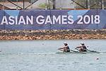 Shiho Yonekawa &  Sayaka Chujo (JPN), <br /> AUGUST 19, 2018 - Rowing : <br /> Women's Double Sculls Heat <br /> at Jakabaring Sport Center Lake <br /> during the 2018 Jakarta Palembang Asian Games <br /> in Palembang, Indonesia. <br /> (Photo by Yohei Osada/AFLO SPORT)