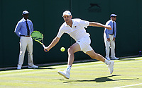 Sam Querrey (USA) in action against Jordan Thompson (AUS) during their first round match<br /> <br /> Photographer Rob Newell/CameraSport<br /> <br /> Wimbledon Lawn Tennis Championships - Day 1 - Monday 2nd July 2018 -  All England Lawn Tennis and Croquet Club - Wimbledon - London - England<br /> <br /> World Copyright &not;&uml;&not;&copy; 2017 CameraSport. All rights reserved. 43 Linden Ave. Countesthorpe. Leicester. England. LE8 5PG - Tel: +44 (0) 116 277 4147 - admin@camerasport.com - www.camerasport.com
