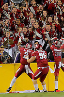 11/14/15<br /> Arkansas Democrat-Gazette/STEPHEN B. THORNTON<br /> Arkansas' band celebrates with Razorback D.J. Dean, left, (2) after he intercepted the ball in the end zone to drive a nail in the coffin of an LSU drive in the fourth  quarter during their game Saturday in Baton Rouge, La.